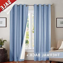 Moderate Blackout Thermal Backed Curtains for Living Room, L