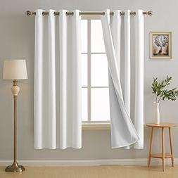 Deconovo Bedroom White Blackout Curtains with Grommet Sound