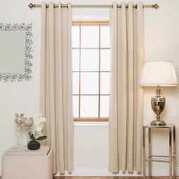 Blackout Curtain Beige Antique Brass Grommet Top Thermal Ins