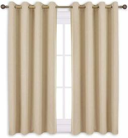 "Nicetown Beige Curtains 52"" x 45"" Blackout Room Darkening 2"