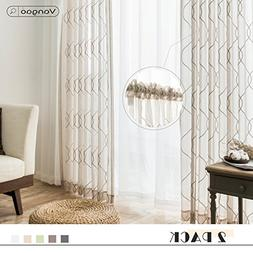 Beige Sheer Curtains Embroidered Bedroom 84 inch Length Shee