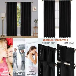 Deconovo Black Blackout Curtains 84 Inch Long Back Tab And R