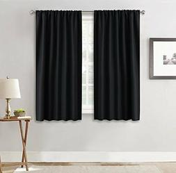 RYB HOME Black Window Curtains and Drapes  Soft Solid Rod Po