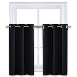 NICETOWN Black Small Window Valances Curtains - Thermal Insu