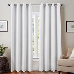 jinchan 100% Blackout Curtain for Bedroom 84 Inch Length Whi