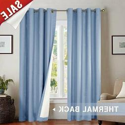jinchan Blackout Curtain 63 inch Blue for Bedroom Thermal In