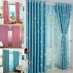 Blackout Curtain Clouds Pattern Eyelet Drapes Girls Boys Bed