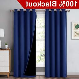 NICETOWN 100% Blackout Curtain Set, Thermal Insulated & Ener