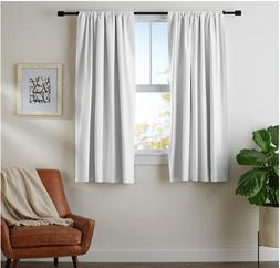 AmazonBasics Blackout Curtain Set - 52''x 63'', White, 2-pan