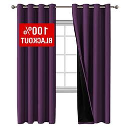 Flamingo P 100% Blackout Curtain Set Thermal Insulated Black