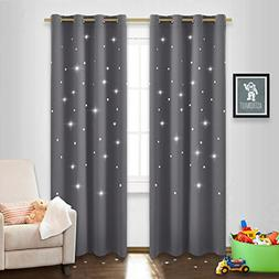 NICETOWN Blackout Curtain with Die-Cut Stars - Starry Night