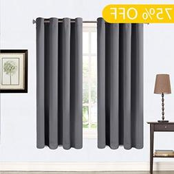 99% Blackout Curtains 2 Panels Thermal Insulated Grommets Dr