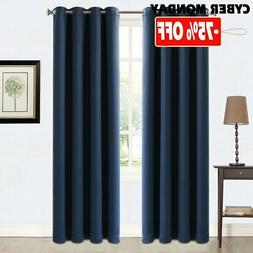 Blackout Curtains 2 Panels Thermal Insulated Grommets Drapes