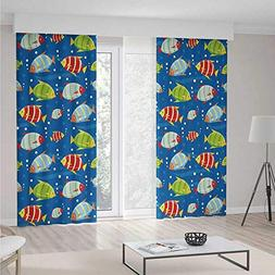 Blackout Curtains,Nursery,Vibrant Colored Fish on a Navy Blu