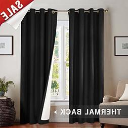 Blackout Curtains Black 84 inch Bedroom Window Curtain Set T