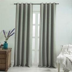 DEZENE Blackout Curtains with Grommets - Natural Linen Look,
