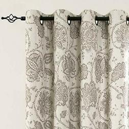 jinchan Blackout Curtains Floral Scroll Printed Linen Textur