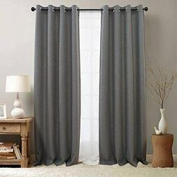 jinchan Blackout Curtains for Bedroom Linen Textured