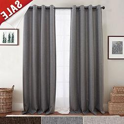jinchan Blackout Curtains for Bedroom Linen Textured Window