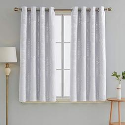 Deconovo Blackout Curtains for Bedroom Silver Foil Printed C