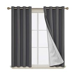 Deconovo Blackout Curtains Silver Coated Thermal Insulated N