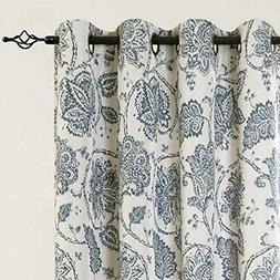 jinchan Blackout Curtains Paisley Scroll Printed Linen Textu