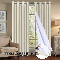 H.VERSAILTEX Premium Blackout Lined Curtains All Season Ivor