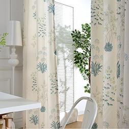 Blackout Curtains Teal Flower Drapes - Anady Top 2 Panel Pri