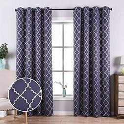Blackout Curtains With Foil Print Moroccan Pattern, 95 Inche