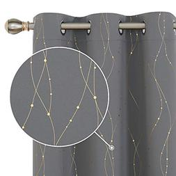 Blackout Curtains with Golden Wave Line and Dots Pattern The