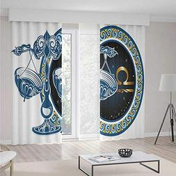 Blackout Curtains,Zodiac Decor,Theme Home Decor Dining Room