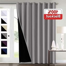 100% Blackout Grey Curtains for Bedroom, Extra Wide Blackout
