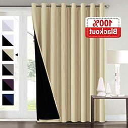 100% Blackout Curtains for Patio Sliding Door 100x96 Thermal