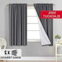 Flamingo P 100% Blackout Grey Curtains for Bedroom Curtains