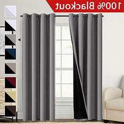 Flamingo P 100% Blackout Grey Curtains 108 inch Grey Faux Si