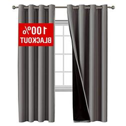 100% Blackout Curtains for Bedroom Energy Saving Pair Curtai