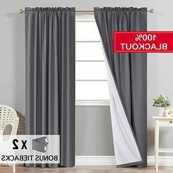 Flamingo P Full Blackout Grey Curtains with White Liner Ther