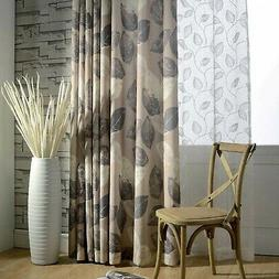 Anady Top Blackout Leaf Curtains Grey White 2 Panel Linen Co