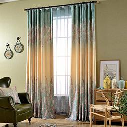 Blackout Lined Curtains Purple Blue Ombre Color Curtains - A