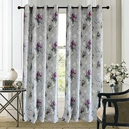 Anady Top Blackout Lined Gray Curtains Drapes 2 Panels Purpl