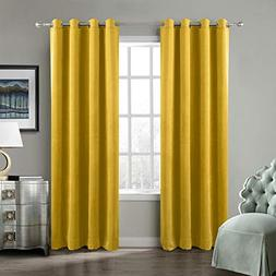 ChadMade Blackout Lined Premium Velvet Curtain Yellow 50Wx84