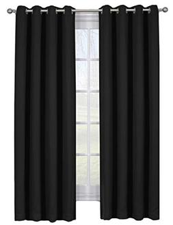 sheetsnthings Set of 2 Blackout Panels -AVA- Solid Black  Tr