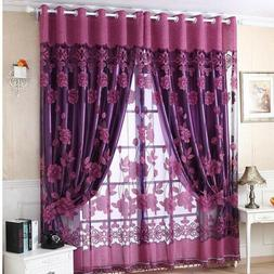 Blackout Room Darkening Curtains Window Voile Drapes Door Be