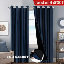 H.VERSAILTEX 100% Blackout Solid Navy Curtains Faux Silk Gro