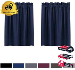 blackout tiers curtain for small window rod