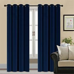 HCILY Blackout Velvet Curtains Navy 84 INCH Thermal Insulate