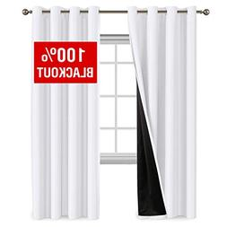 100% Blackout White Curtains for Bedroom 96 Inch Faux Silk B