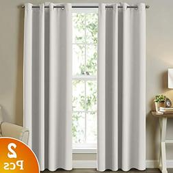 Turquoize White Curtains Window Treatment Draperies - 52 x 8