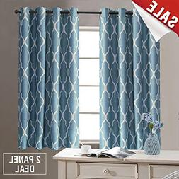 Blue Curtains 54 inch Long for Bedroom Home Linen Textured L