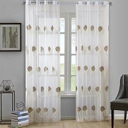 Dreaming Casa Brown Trees White Embroidery Window Sheer Curt